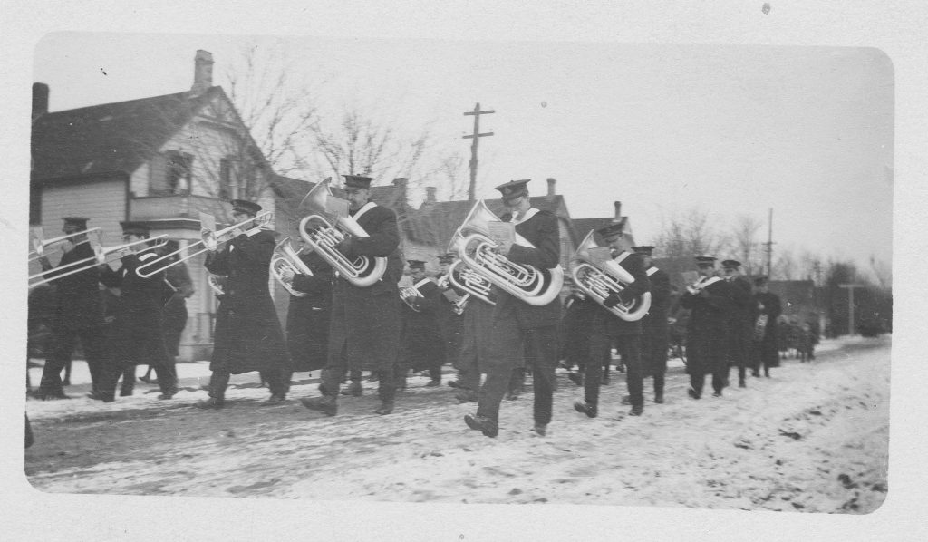 160th Battalion Brass Band marching in Wiarton