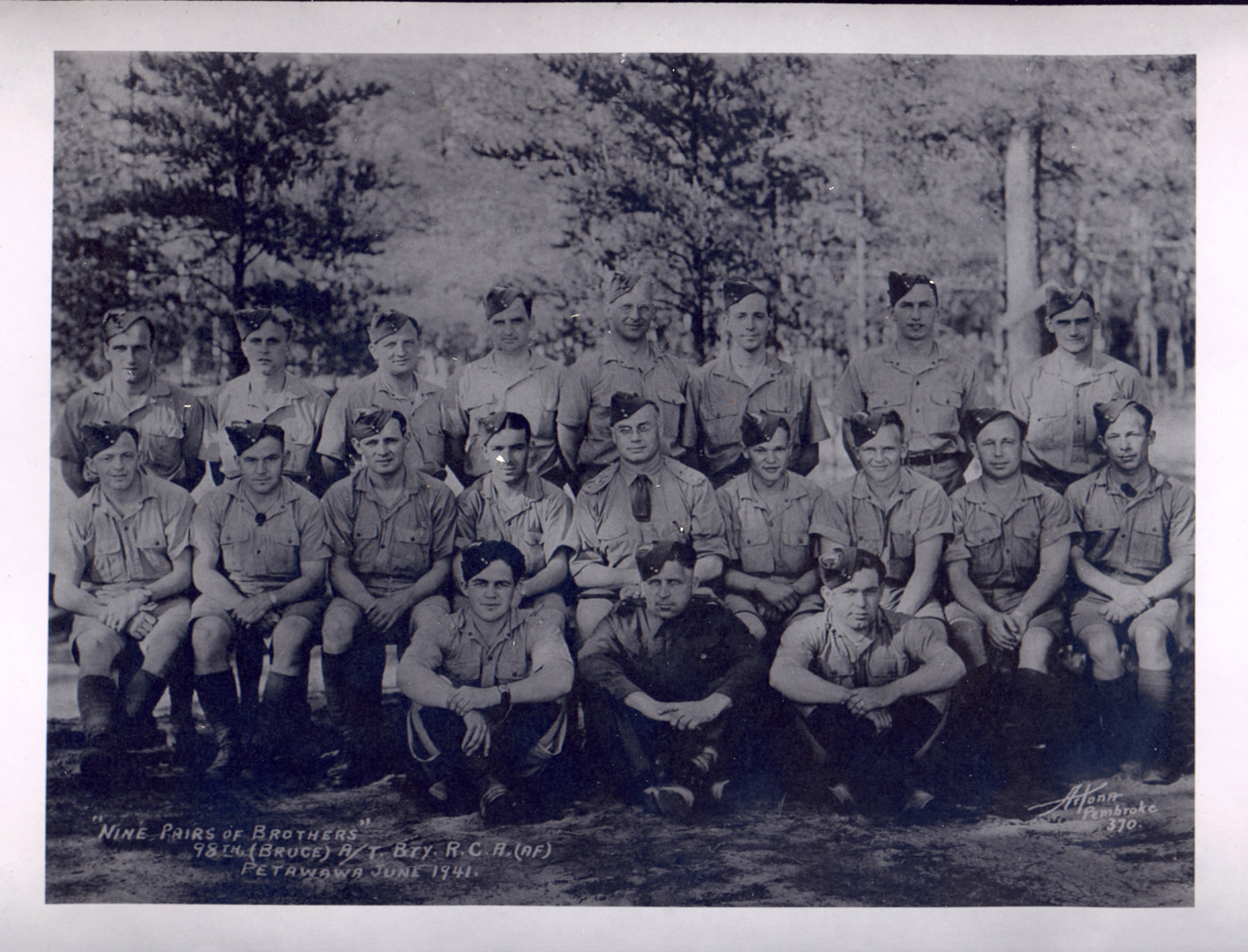 98th Anti-Tank Battery - 9 pairs of brothers, June 1943 Petawawa