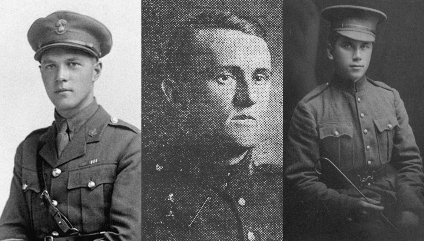 Compilation of images of three soldiers