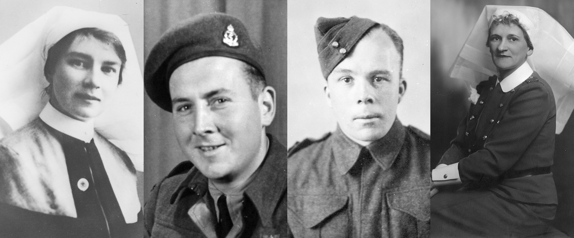 Four images of soldiers who served with the Canadian Medical Army Corps.