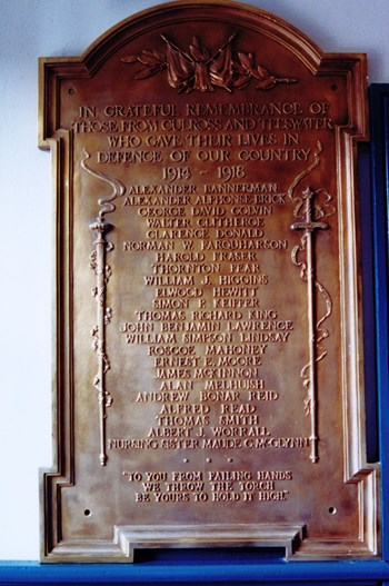 Teeswater-Culross Roll of Honour