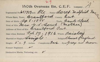 Wilfred Maitland Acret Enlistment Card 160th Bruce Battalion