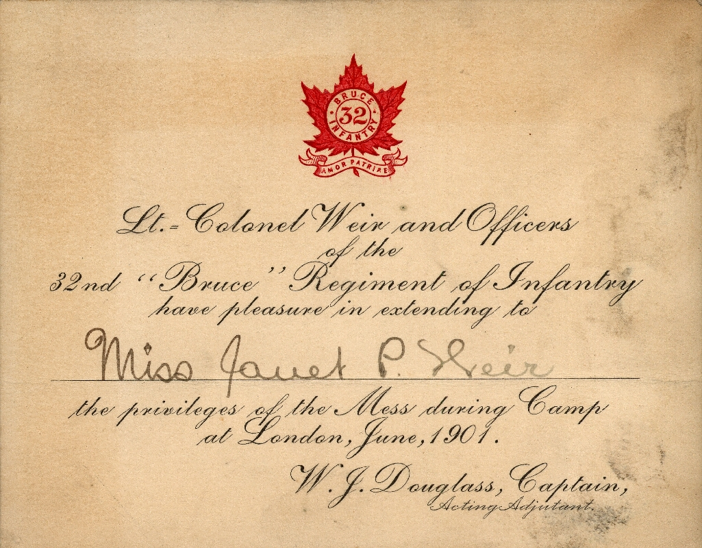 Invitation to 32nd Regiment Mess addressed to Miss. Janet Weir, in 1901