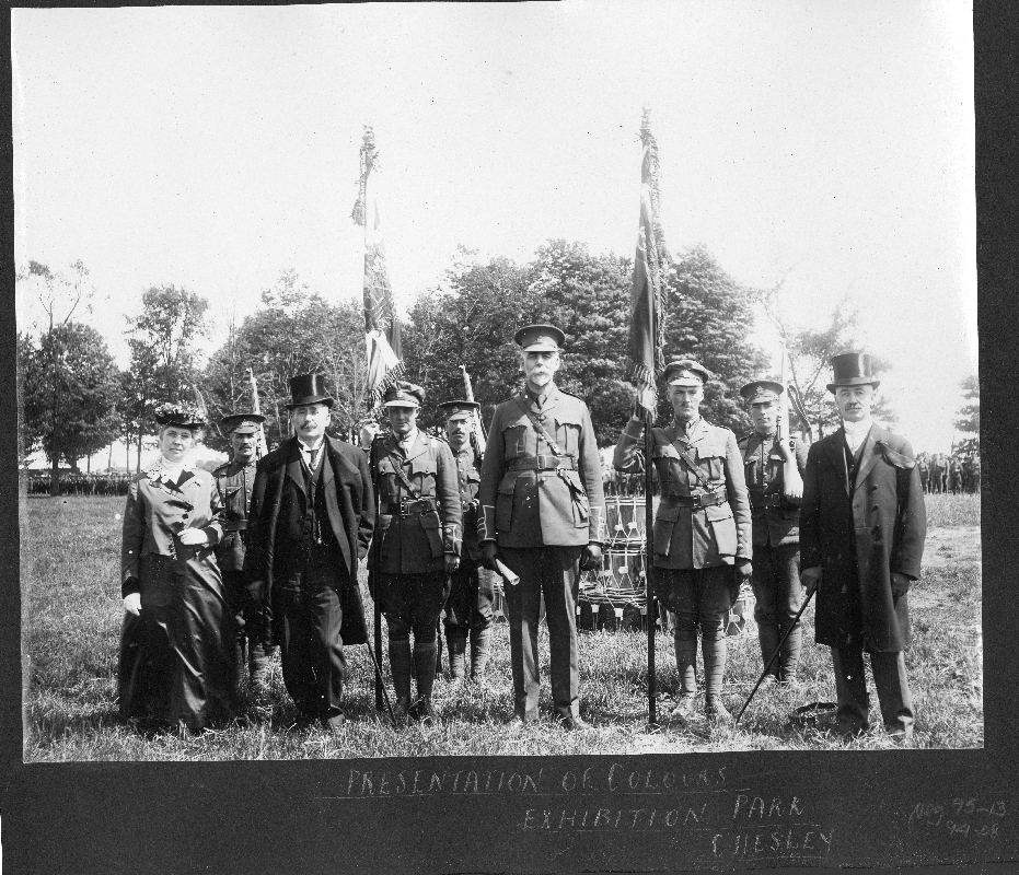 Presentation of Colours at Exhibition Park, Chesley, 160th Battalion