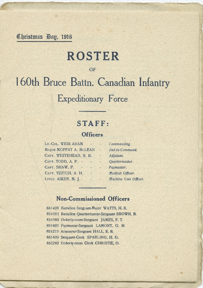 Christmas Day 1916 Menu, with Roster