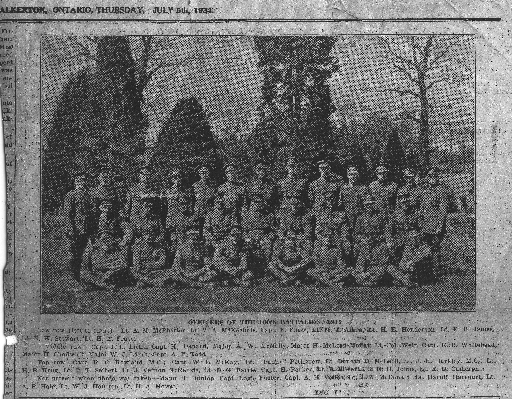 160th Battalion 1917 image published in Walkerton Herald-Times, July 5, 1934