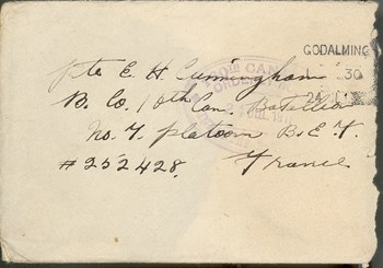 July 17, 1917 envelope (with letters marked II to VI)