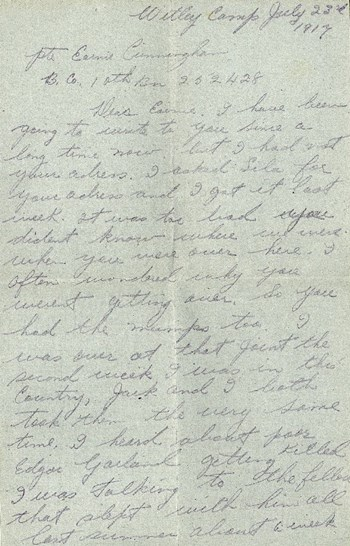 Thompson letter to Cunningham, July 23, 1917, p. 1