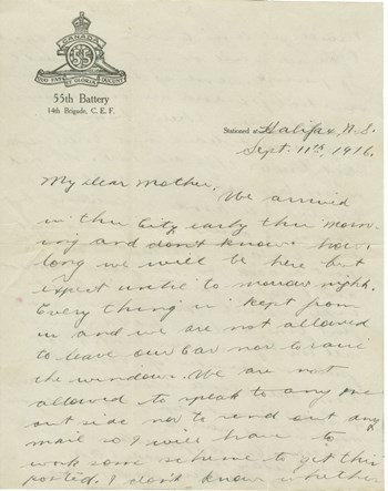 1916 Sept. 11 letter to mother, page 1