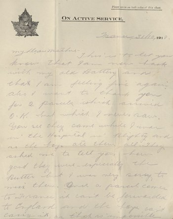 1918 Oct 31 letter to brother, page 1