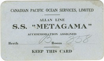 S.S. Metagama accommodation card