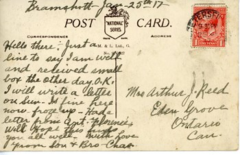 Jan. 25, 1917 postcard, back