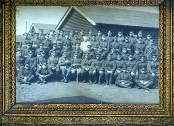 Part of Bruce Battalion No. 6 Platoon, taken ca. 1917 in Witley or Bramshott Camp, including Wark