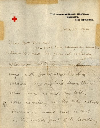 Red Cross chaplain letter, 1915, p. 1