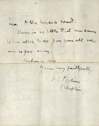 Red Cross chaplain letter, 1915, p. 2