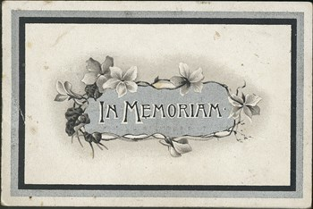In memoriam card, outside