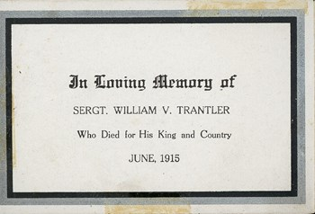 In memoriam card, inside right