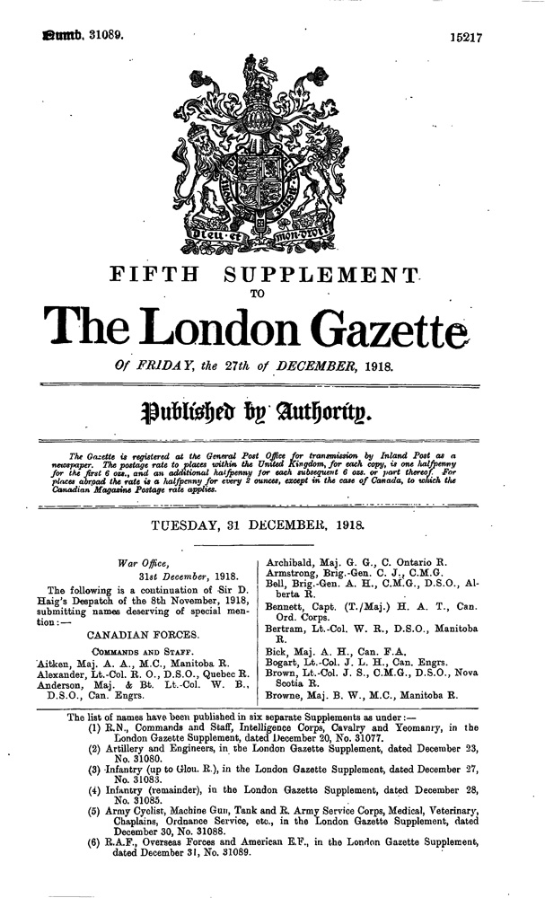 Supplement to the London Gazette, December 31, 1918, https://www.thegazette.co.uk/